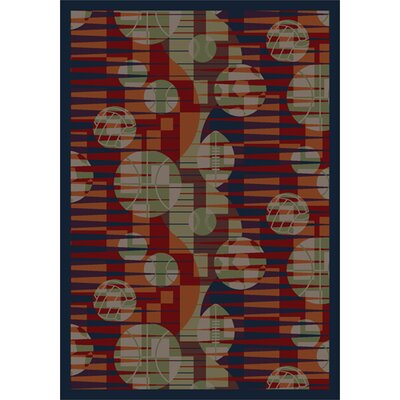Keeping Score Red/Taupe Area Rug Rug Size: 78 x 109