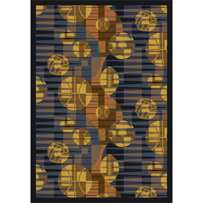 Keeping Score Blue/Yellow Area Rug Rug Size: 54 x 78
