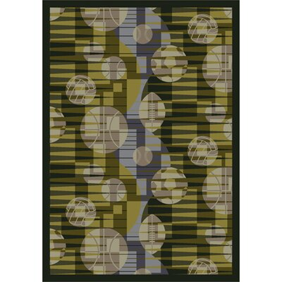 Keeping Score Green/Taupe Area Rug Rug Size: 54 x 78
