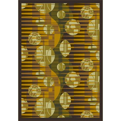 Keeping Score Yellow Area Rug Rug Size: 78 x 109
