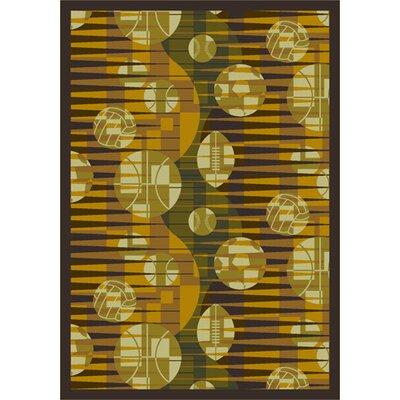 Keeping Score Yellow Area Rug Rug Size: 109 x 132
