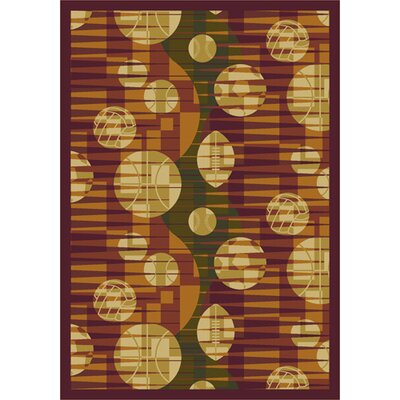 Keeping Score Orange/Beige Area Rug Rug Size: 54 x 78