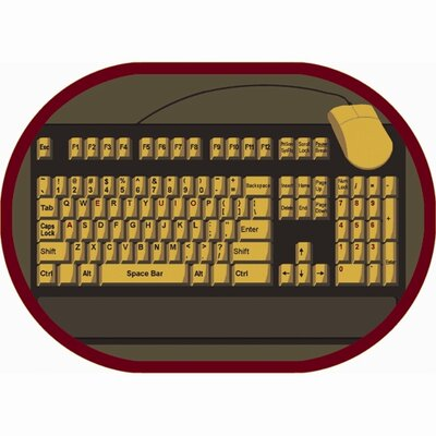 Keyboard Connection Brown/Yellow Area Rug Rug Size: Oval 109 x 132