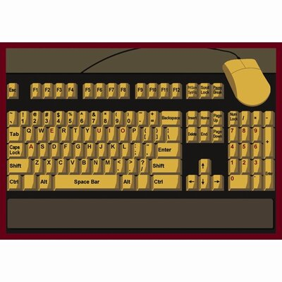 Keyboard Connection Brown/Yellow Area Rug Rug Size: 109 x 132