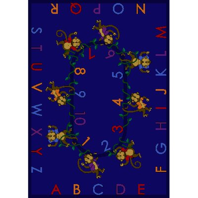 Monkey Business Blue Area Rug Rug Size: Rectangle 54 x 78