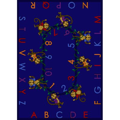 Monkey Business Blue Area Rug Rug Size: Rectangle 78 x 109
