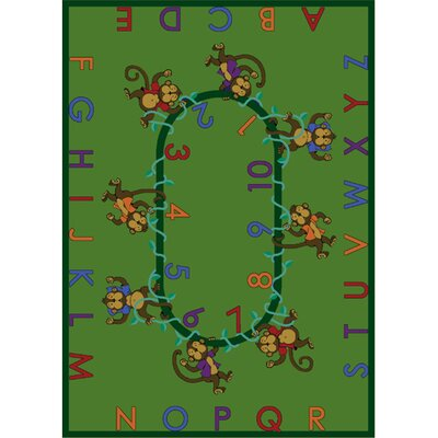 Monkey Business Green Area Rug Rug Size: 54 x 78