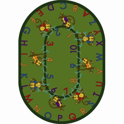Monkey Business Green Area Rug Rug Size: Oval 109 x 132