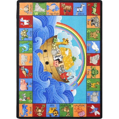Based Noahs Alphabet Animals Area Rug Rug Size: Oval 109 x 132