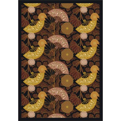 Pacific Rim Chocolate/Yellow Area Rug Rug Size: 109 x 132