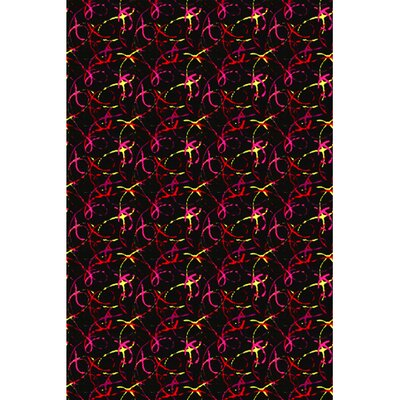 Black/Red Area Rug Rug Size: Square 6'