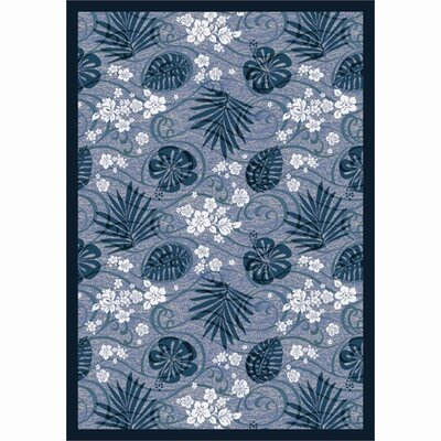 Blue/White Area Rug Rug Size: 109 x 132