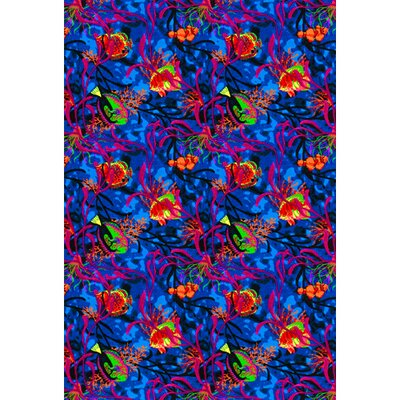 Blue/Red Area Rug Rug Size: 8 x 12