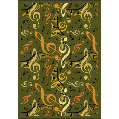 Green/Orange Area Rug Rug Size: 54 x 78