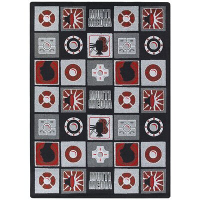 Red/Gray Area Rug Rug Size: 54 x 78