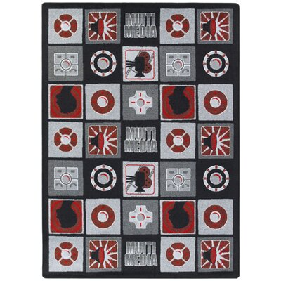 Red/Gray Area Rug Rug Size: 109 x 132