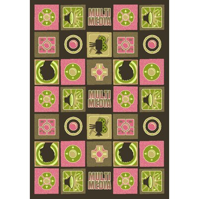 Green/Pink Area Rug Rug Size: 78 x 109