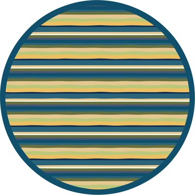 Blue/Yellow Area Rug Rug Size: Round 77