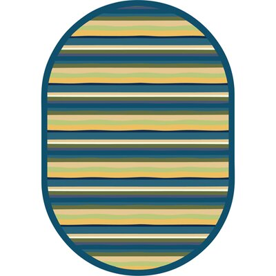 Blue/Yellow Area Rug Rug Size: Oval 54 x 78
