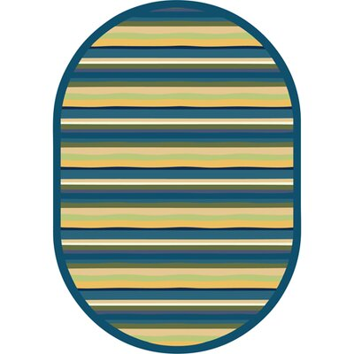 Blue/Yellow Area Rug Rug Size: Oval 310 x 54