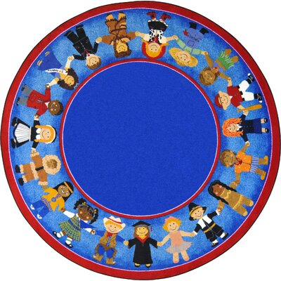 Tufted Blue Area Rug Rug Size: Round 13'2