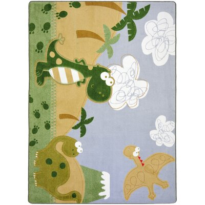 Green/Beige Area Rug Rug Size: 54 x 78