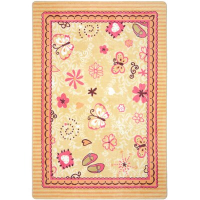 Beige/Pink Area Rug Rug Size: 54 x 78
