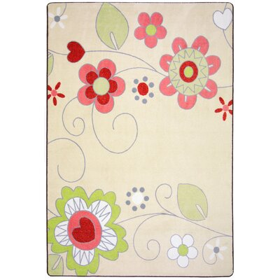 Green/Pink Area Rug Rug Size: 54 x 78
