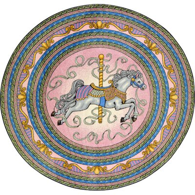 Hand-Tufted Blue/Pink/Yellow Area Rug Rug Size: Round 54