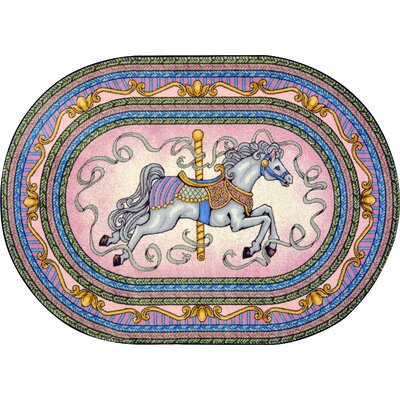 Hand-Tufted Blue/Pink/Yellow Area Rug Rug Size: Oval 54 x 78