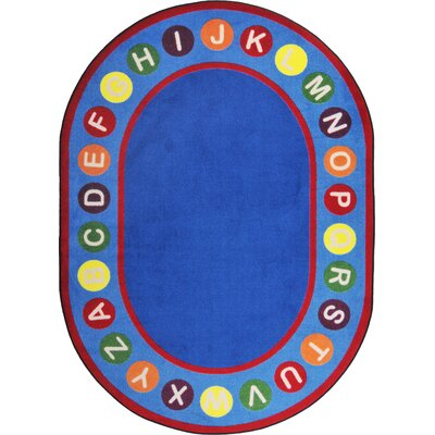 Hand-Tufled Blue/Red Kids Rug Rug Size: Oval 109 x 132