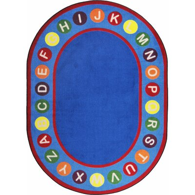Hand-Tufled Blue/Red Kids Rug Rug Size: Oval 5'4