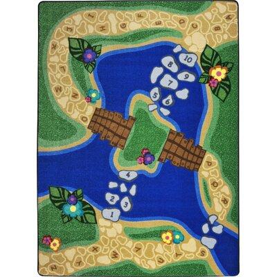 Hand-Tufled Green/Blue Kids Rug Rug Size: 109 x 132
