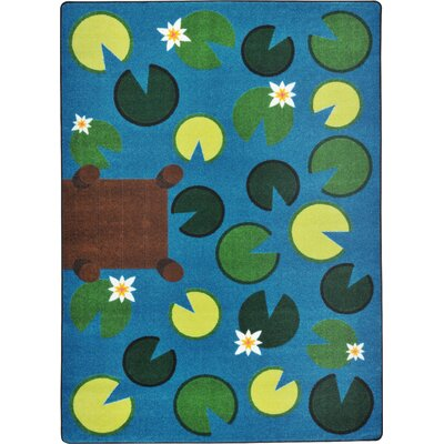 Hand-Tufled Green/Blue Area Rug Rug Size: 54 x 78