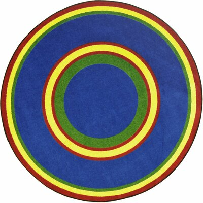 Hand-Tufled Blue Area Rug Rug Size: Oval 54 x 78