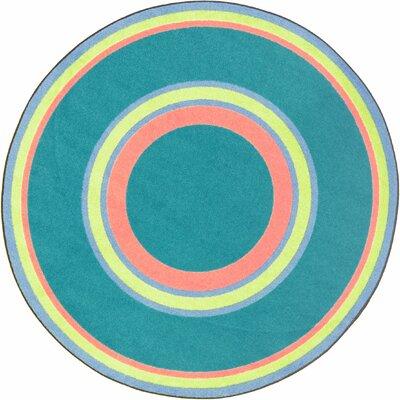 Hand-Tufled Blue Area Rug Rug Size: Oval 54 x 78