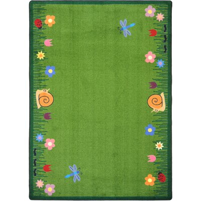 Hand-Tufled Green Kids Area Rug Rug Size: 54 x 78