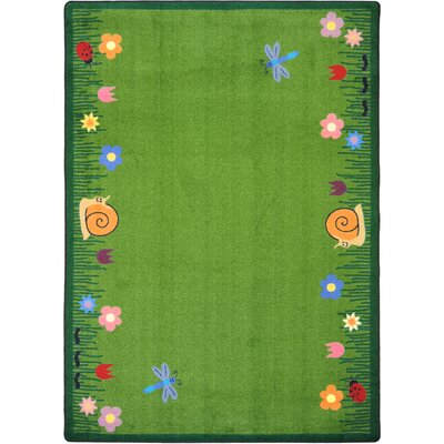 Hand-Tufled Green Kids Area Rug Rug Size: 78 x 109