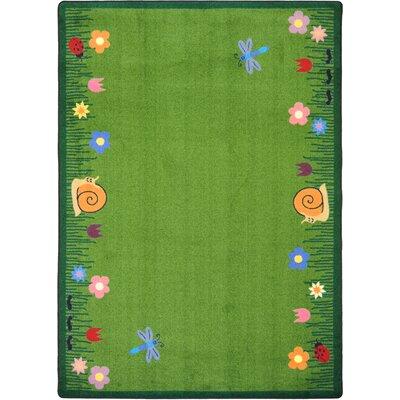 Hand-Tufled Green Kids Area Rug Rug Size: 109 x 132