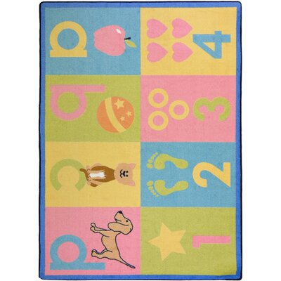 Hand-Tufled Blue/Pink Kids Rug Rug Size: 54 x 78