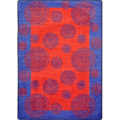 Hand-Tufted Blue/Red Area Rug Rug Size: 78 x 109