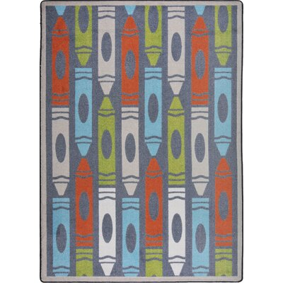 Hand-Tufled Blue/Red Area Rug Rug Size: 54 x 78