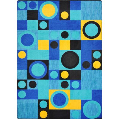 Hand-Tufled Black/Blue Area Rug Rug Size: 54 x 78