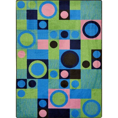 Hand-Tufled Blue/Green Area Rug Rug Size: 54 x 78