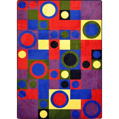 Hand-Tufled Blue/Red Area Rug Rug Size: 109 x 132