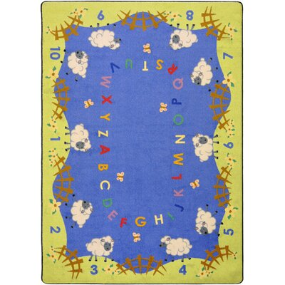 Hand-Tufled Blue/Green Kids Rug Rug Size: Rectangle 78 x 109