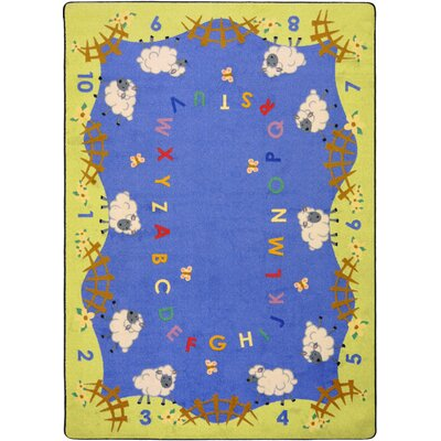 Hand-Tufled Blue/Green Kids Rug Rug Size: Oval 78 x 109