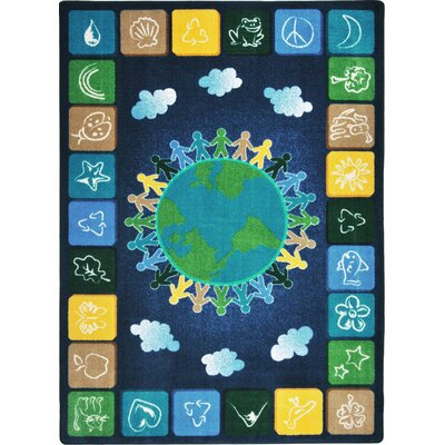 Hand-Tufled Blue/Yellow Area Rug Rug Size: 54 x 78
