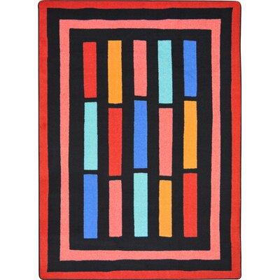 Hand-Tufled Black/Pink Area Rug Rug Size: 78 x 109