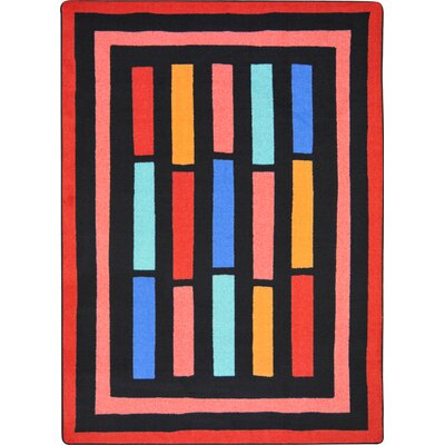 Hand-Tufled Black/Pink Area Rug Rug Size: 54 x 78